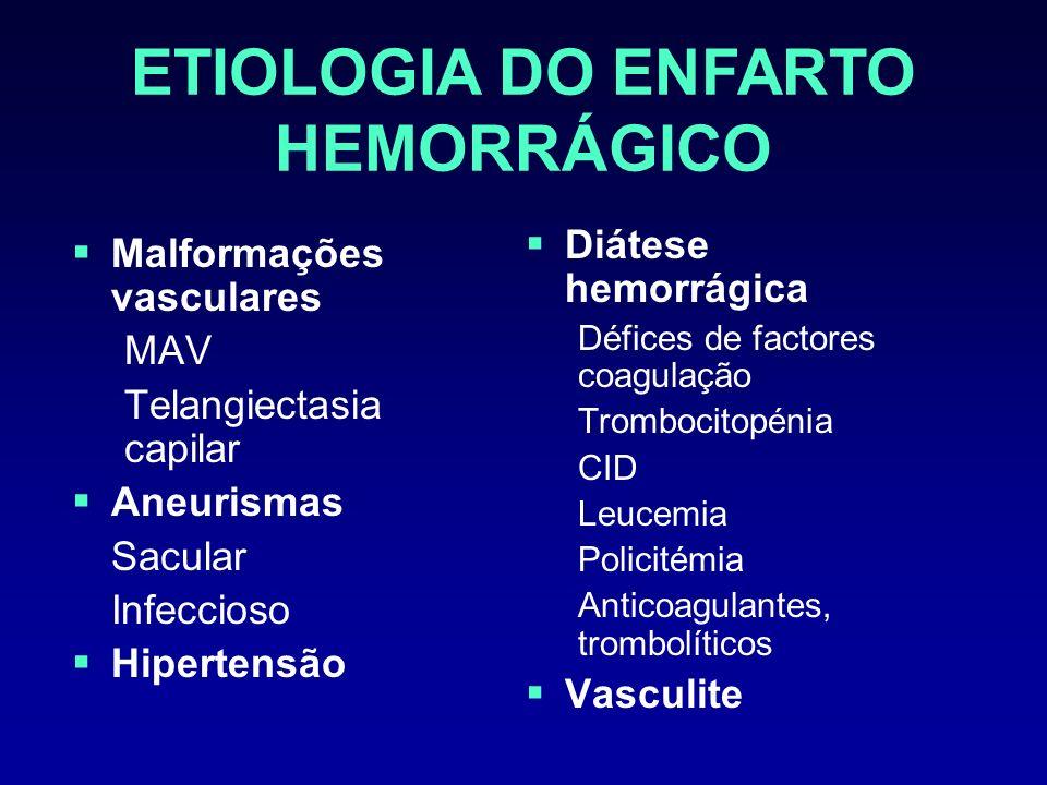 ANTICOAGULANTES O uso de heparina, heparina de baixo peso molecular ou heparinoides não está recomendado após enfarto isquémico Maior risco de transformação hemorrágica do enfarto