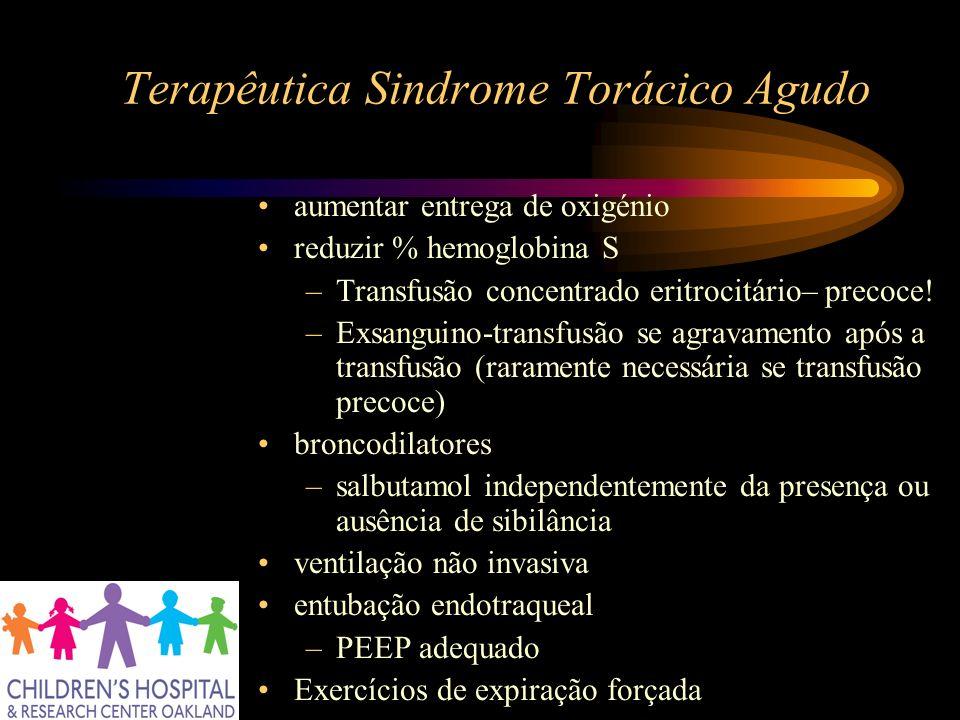 Terapêutica Sindrome Torácico Agudo aumentar entrega de oxigénio reduzir % hemoglobina S –Transfusão concentrado eritrocitário– precoce! –Exsanguino-t