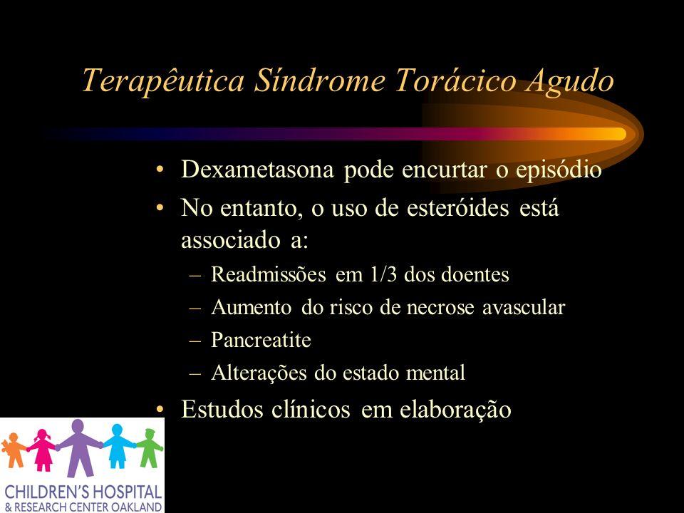Terapêutica Síndrome Torácico Agudo Dexametasona pode encurtar o episódio No entanto, o uso de esteróides está associado a: –Readmissões em 1/3 dos do