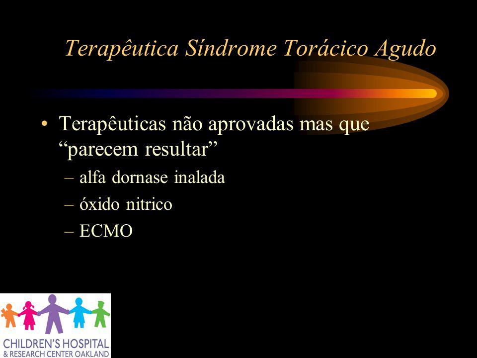 Terapêutica Síndrome Torácico Agudo Terapêuticas não aprovadas mas que parecem resultar –alfa dornase inalada –óxido nitrico –ECMO