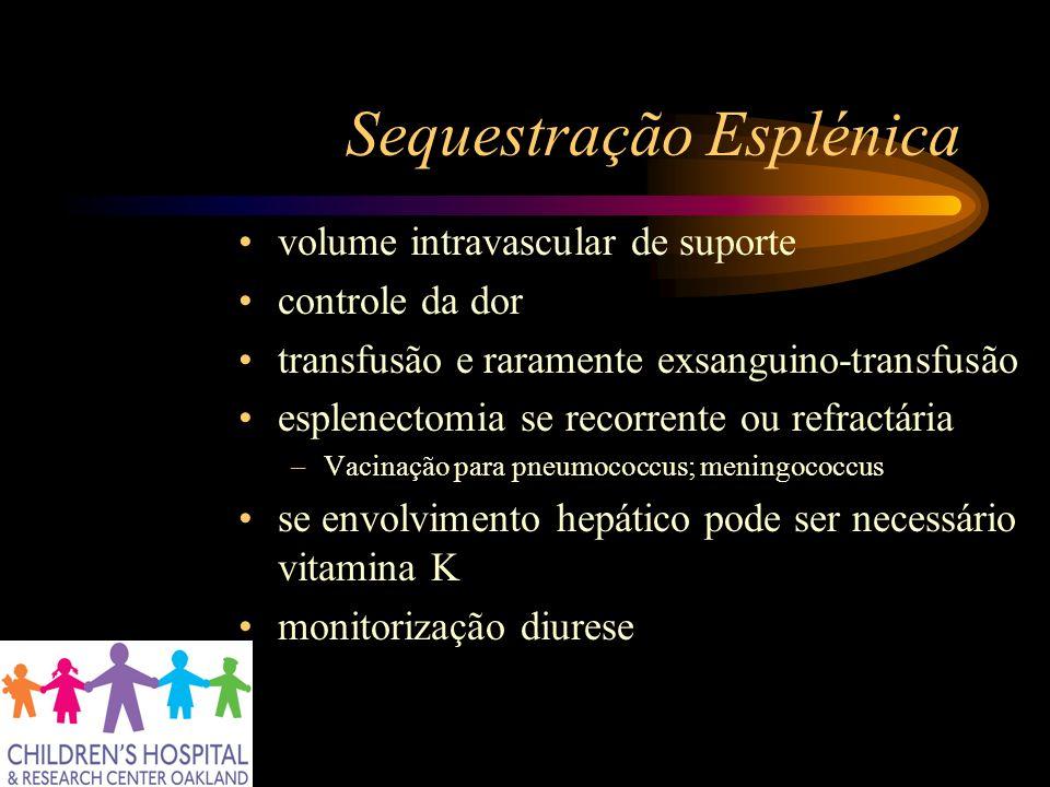 Sequestração Esplénica volume intravascular de suporte controle da dor transfusão e raramente exsanguino-transfusão esplenectomia se recorrente ou ref