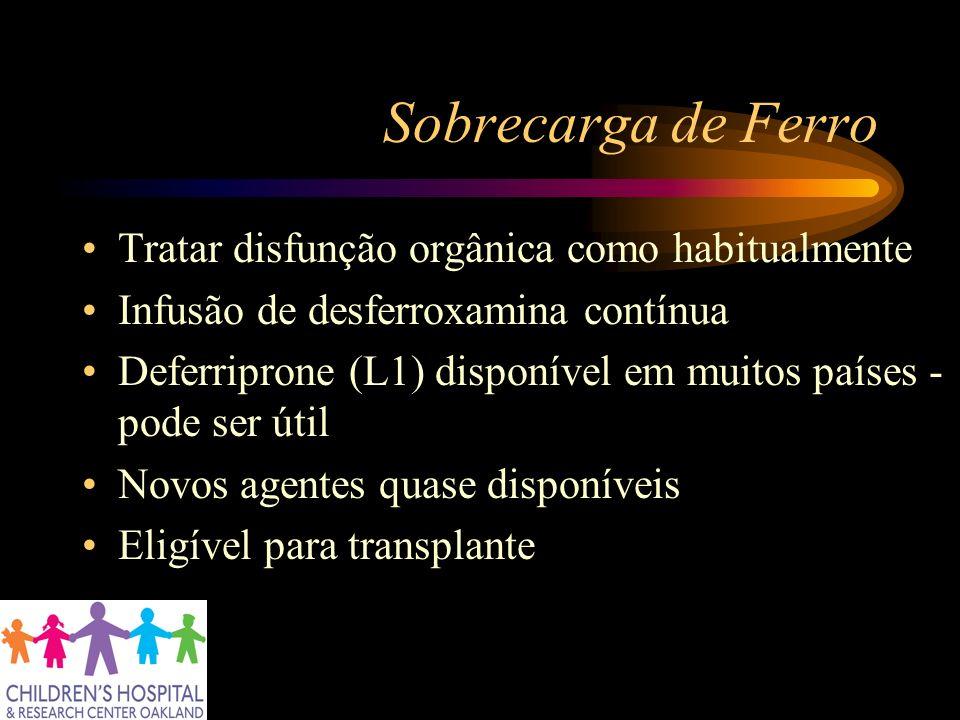 Sobrecarga de Ferro Tratar disfunção orgânica como habitualmente Infusão de desferroxamina contínua Deferriprone (L1) disponível em muitos países - po
