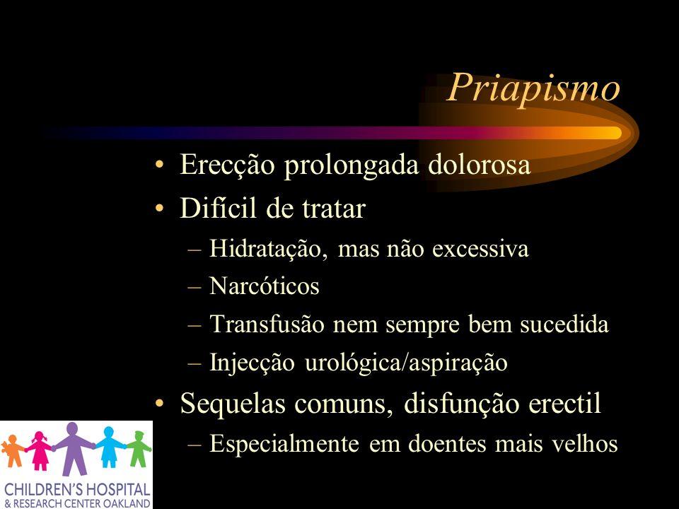 Priapismo Erecção prolongada dolorosa Difícil de tratar –Hidratação, mas não excessiva –Narcóticos –Transfusão nem sempre bem sucedida –Injecção uroló