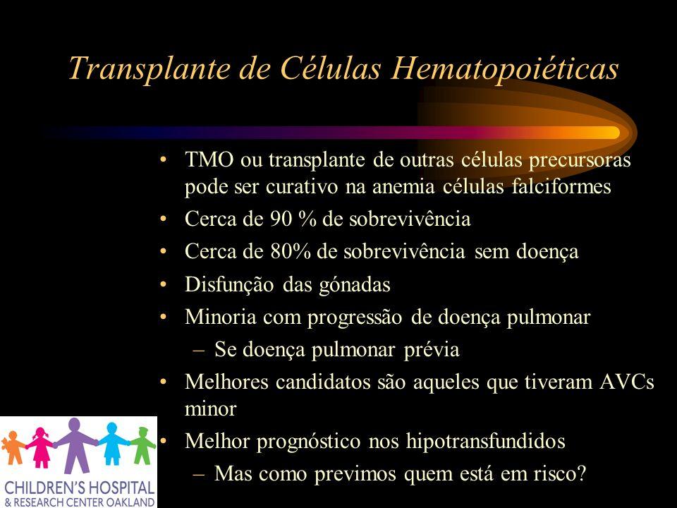 Transplante de Células Hematopoiéticas TMO ou transplante de outras células precursoras pode ser curativo na anemia células falciformes Cerca de 90 %