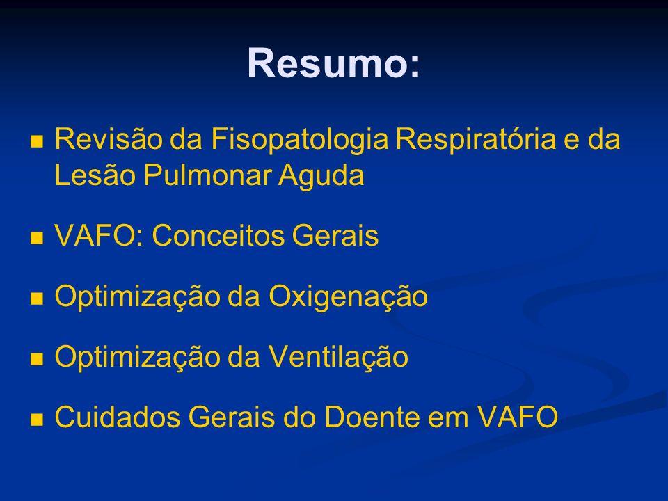 Resumo: Revisão da Fisopatologia Respiratória e da Lesão Pulmonar Aguda VAFO: Conceitos Gerais Optimização da Oxigenação Optimização da Ventilação Cuidados Gerais do Doente em VAFO