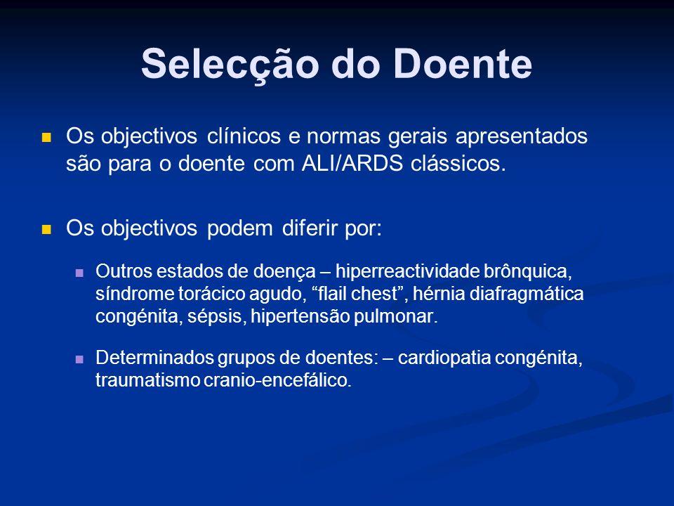 Selecção do Doente Os objectivos clínicos e normas gerais apresentados são para o doente com ALI/ARDS clássicos.