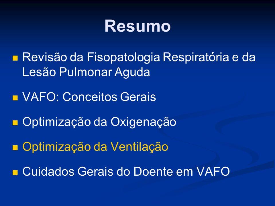 Resumo Revisão da Fisopatologia Respiratória e da Lesão Pulmonar Aguda VAFO: Conceitos Gerais Optimização da Oxigenação Optimização da Ventilação Cuidados Gerais do Doente em VAFO