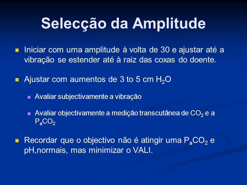 Selecção da Amplitude Iniciar com uma amplitude à volta de 30 e ajustar até a vibração se estender até à raiz das coxas do doente.