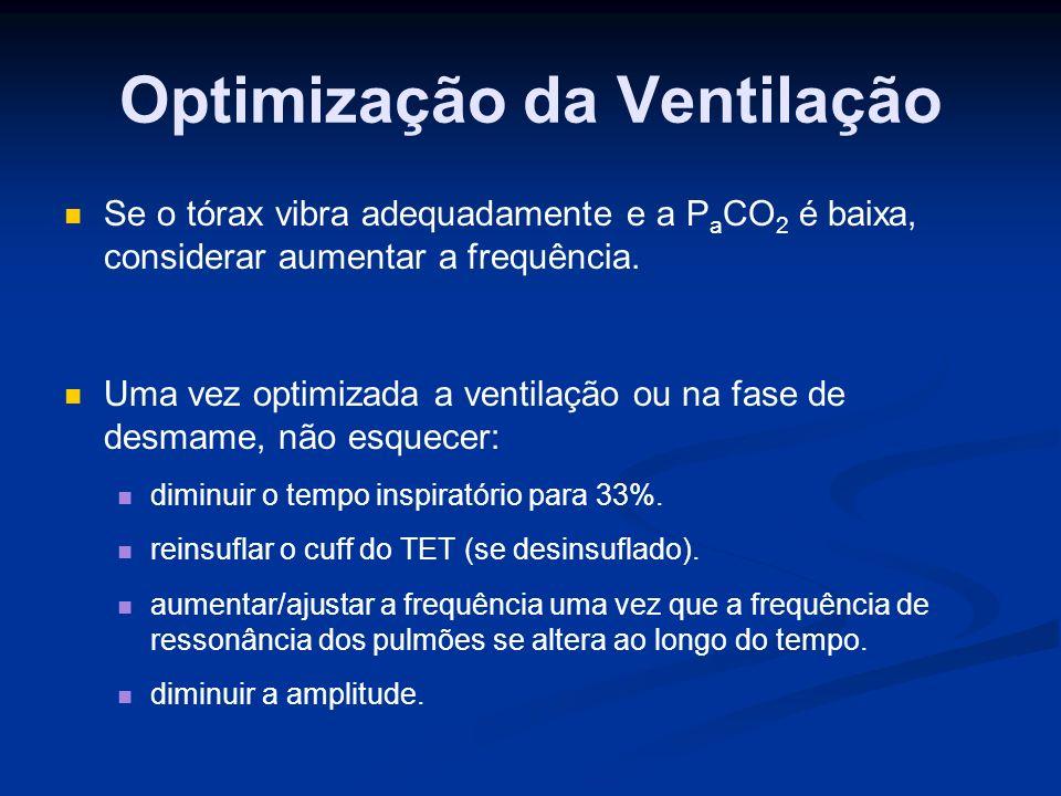 Optimização da Ventilação Se o tórax vibra adequadamente e a P a CO 2 é baixa, considerar aumentar a frequência.
