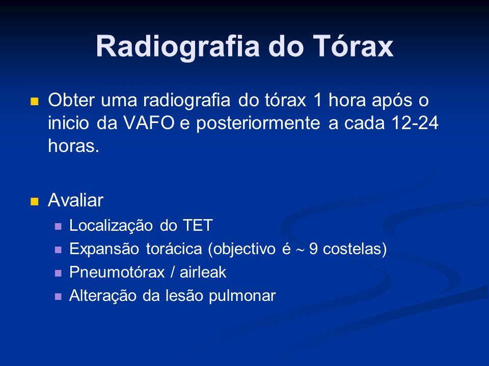 Radiografia do Tórax Obter uma radiografia do tórax 1 hora após o inicio da VAFO e posteriormente a cada 12-24 horas.
