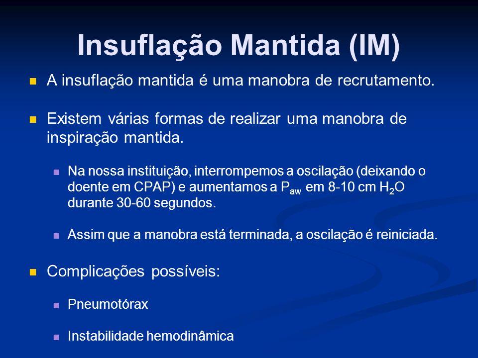 Insuflação Mantida (IM) A insuflação mantida é uma manobra de recrutamento.