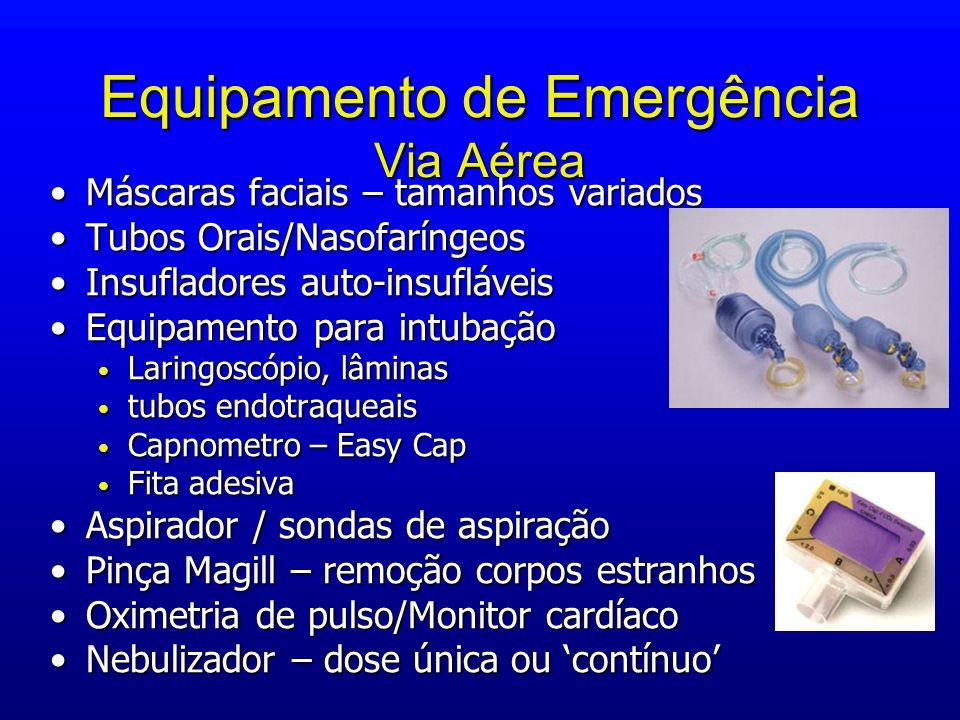 Equipamento de Emergência Via Aérea Máscaras faciais – tamanhos variadosMáscaras faciais – tamanhos variados Tubos Orais/NasofaríngeosTubos Orais/Naso