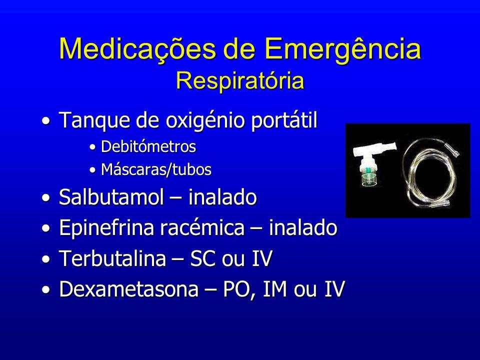 Medicações de Emergência Respiratória Tanque de oxigénio portátilTanque de oxigénio portátil DebitómetrosDebitómetros Máscaras/tubosMáscaras/tubos Sal