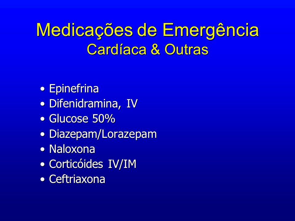 Medicações de Emergência Cardíaca & Outras EpinefrinaEpinefrina Difenidramina, IVDifenidramina, IV Glucose 50%Glucose 50% Diazepam/LorazepamDiazepam/L