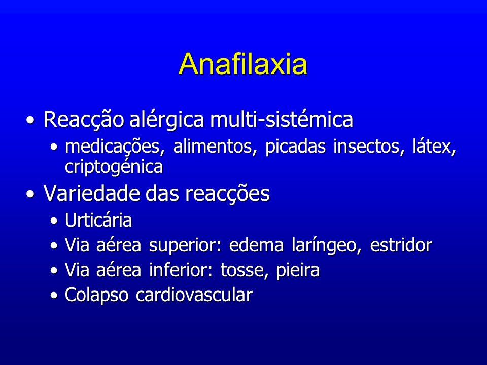 Anafilaxia Reacção alérgica multi-sistémicaReacção alérgica multi-sistémica medicações, alimentos, picadas insectos, látex, criptogénicamedicações, al