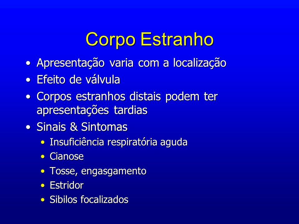 Corpo Estranho Apresentação varia com a localizaçãoApresentação varia com a localização Efeito de válvulaEfeito de válvula Corpos estranhos distais po