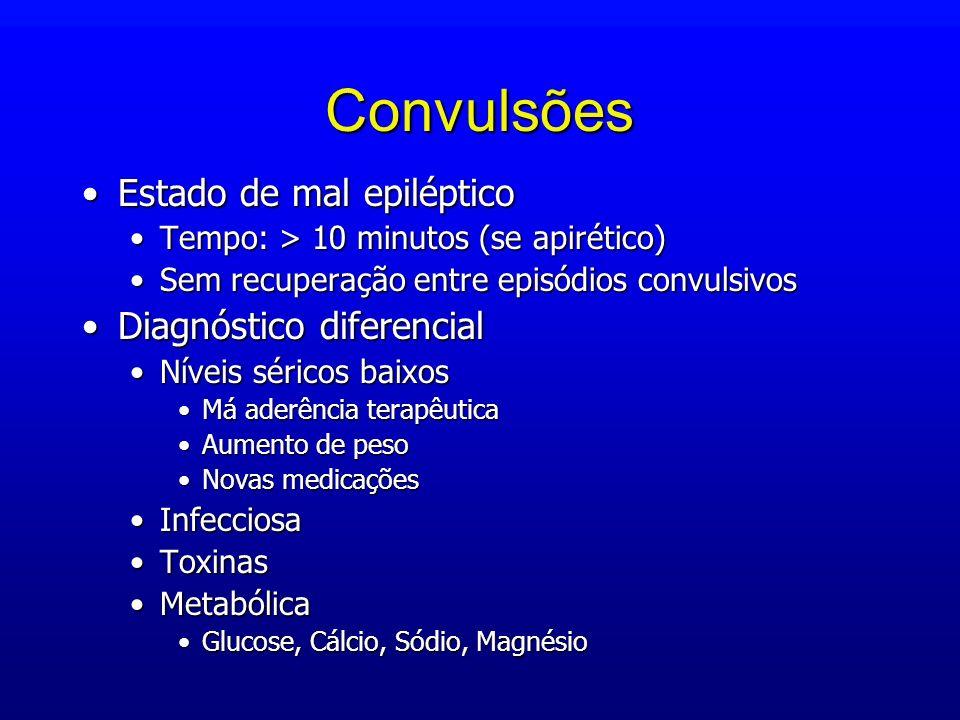 Convulsões Estado de mal epilépticoEstado de mal epiléptico Tempo: > 10 minutos (se apirético)Tempo: > 10 minutos (se apirético) Sem recuperação entre