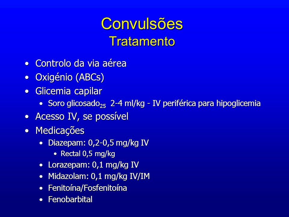 Convulsões Tratamento Controlo da via aéreaControlo da via aérea Oxigénio (ABCs)Oxigénio (ABCs) Glicemia capilarGlicemia capilar Soro glicosado 25 2-4