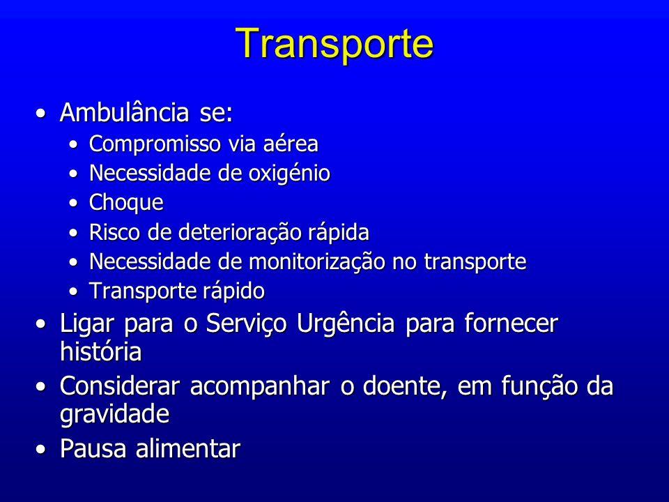 Transporte Ambulância se:Ambulância se: Compromisso via aéreaCompromisso via aérea Necessidade de oxigénioNecessidade de oxigénio ChoqueChoque Risco d