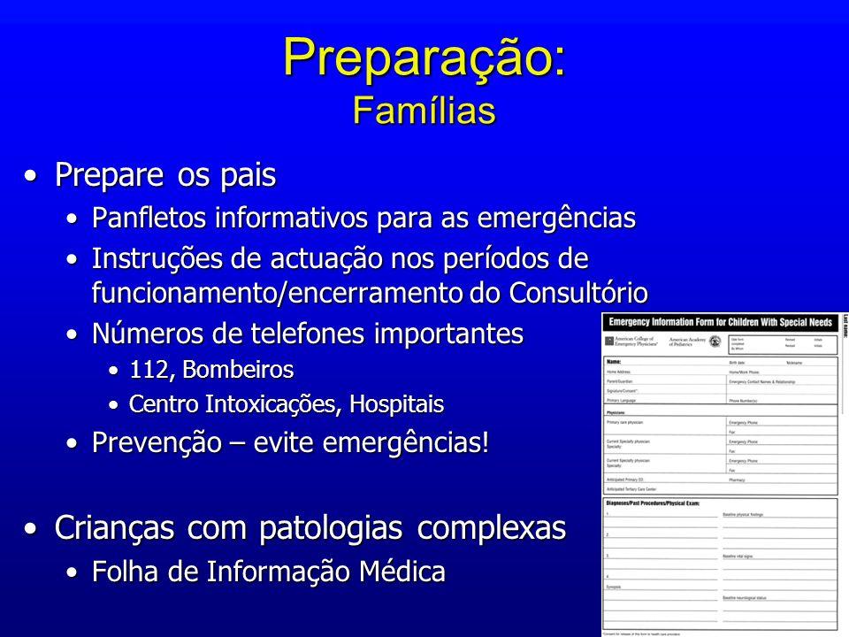 Preparação: Famílias Prepare os paisPrepare os pais Panfletos informativos para as emergênciasPanfletos informativos para as emergências Instruções de
