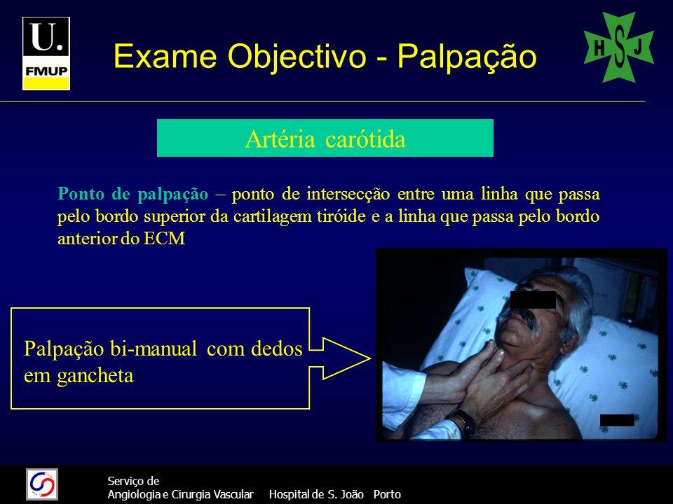 14 Serviço de Angiologia e Cirurgia Vascular Hospital de S. João Porto Exame Objectivo - Palpação Artéria carótida Ponto de palpação – ponto de inters