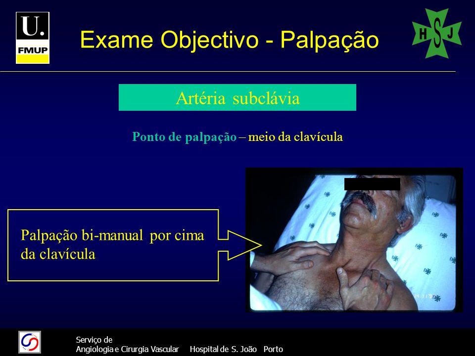 18 Serviço de Angiologia e Cirurgia Vascular Hospital de S. João Porto Exame Objectivo - Palpação Artéria subclávia Ponto de palpação – meio da clavíc