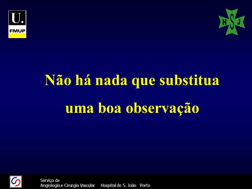 222 Serviço de Angiologia e Cirurgia Vascular Hospital de S. João Porto Não há nada que substitua uma boa observação