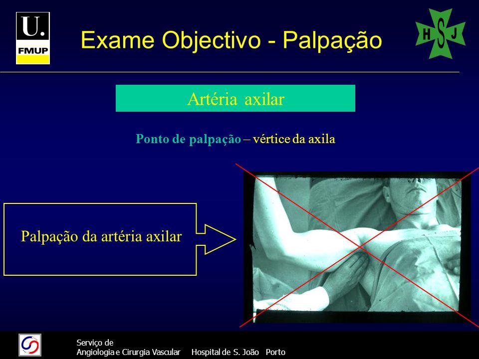 22 Serviço de Angiologia e Cirurgia Vascular Hospital de S. João Porto Exame Objectivo - Palpação Artéria axilar Ponto de palpação – vértice da axila