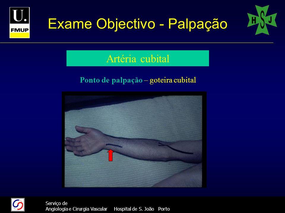 28 Serviço de Angiologia e Cirurgia Vascular Hospital de S. João Porto Exame Objectivo - Palpação Artéria cubital Ponto de palpação – goteira cubital