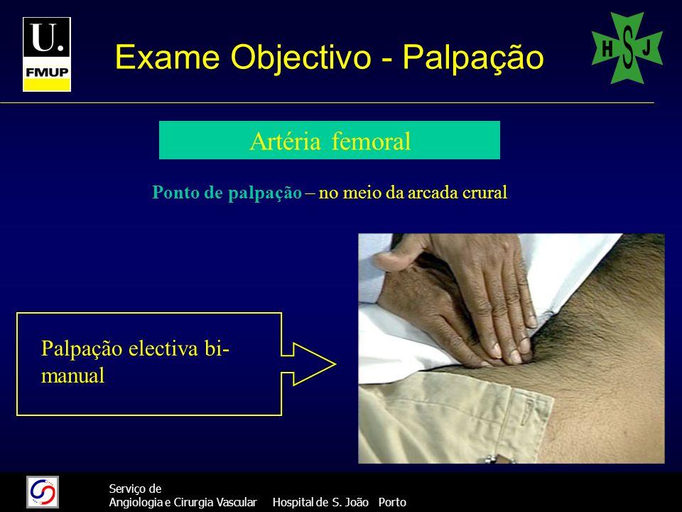 32 Serviço de Angiologia e Cirurgia Vascular Hospital de S. João Porto Exame Objectivo - Palpação Artéria femoral Ponto de palpação – no meio da arcad