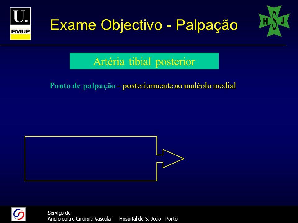 36 Serviço de Angiologia e Cirurgia Vascular Hospital de S. João Porto Exame Objectivo - Palpação Artéria tibial posterior Ponto de palpação – posteri