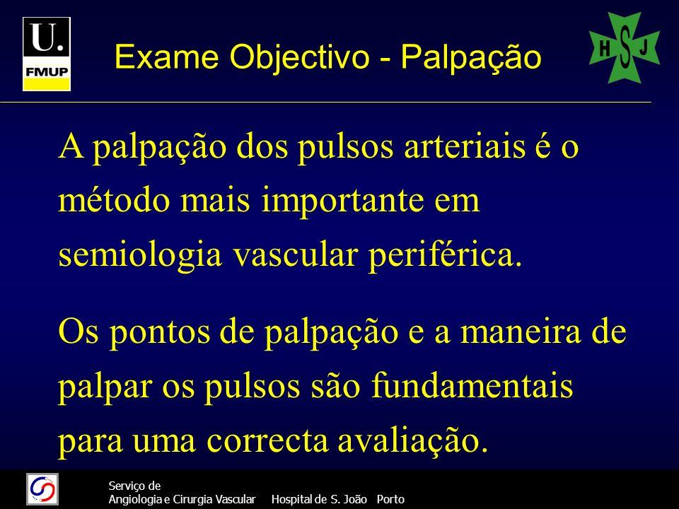999 Serviço de Angiologia e Cirurgia Vascular Hospital de S. João Porto Exame Objectivo - Palpação A palpação dos pulsos arteriais é o método mais imp