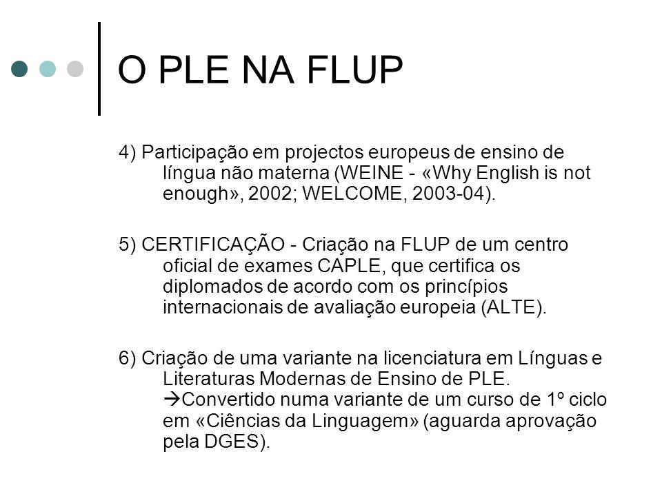 O PLE NA FLUP 4) Participação em projectos europeus de ensino de língua não materna (WEINE - «Why English is not enough», 2002; WELCOME, 2003-04). 5)