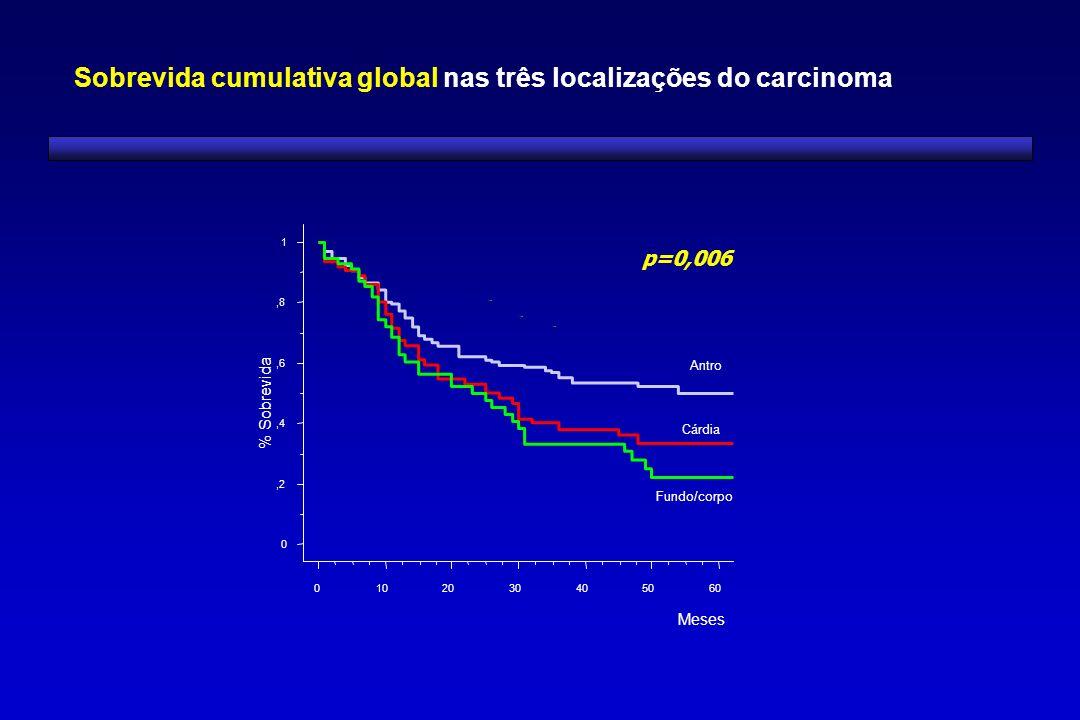 0,2,4,6,8 1 % Sobrevida 0102030405060 Meses Fundo/corpo Antro Cárdia Sobrevida cumulativa global nas três localizações do carcinoma p=0,006