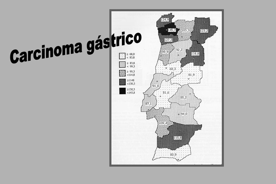 Carcinoma gástrico: 1984-1996 Sobrevida global 26,3 % 20,9 % meses