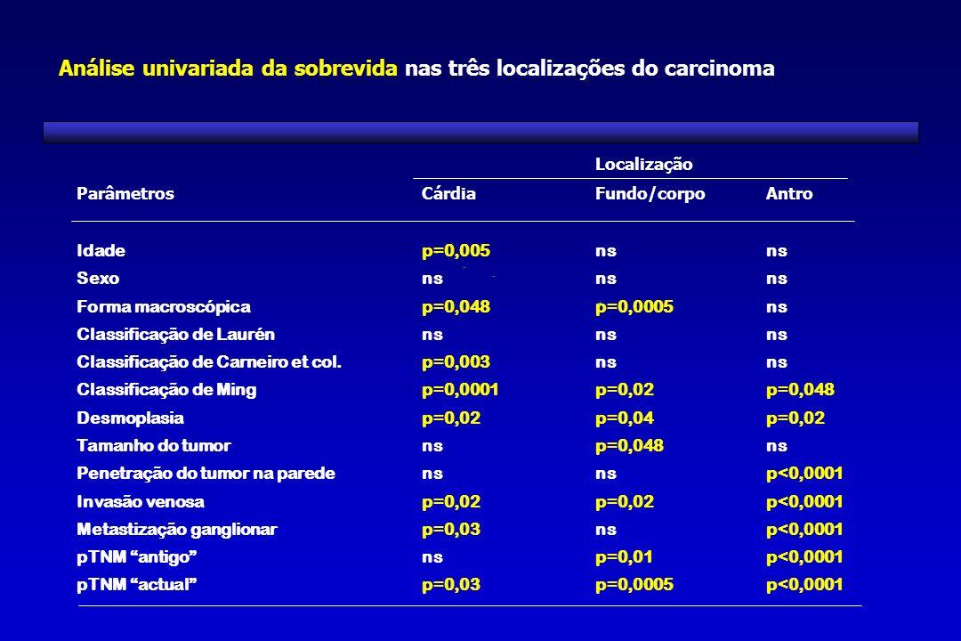 Localização ParâmetrosCárdiaFundo/corpoAntro Idadep=0,005ns Sexons Forma macroscópicap=0,048p=0,0005ns Classificação de Laurénns Classificação de Carn