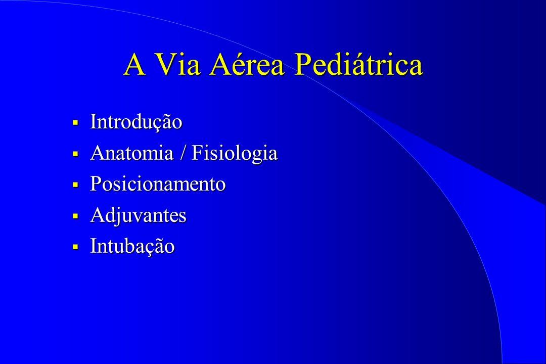 A Via Aérea Pediátrica Introdução Introdução Anatomia / Fisiologia Anatomia / Fisiologia Posicionamento Posicionamento Adjuvantes Adjuvantes Intubação
