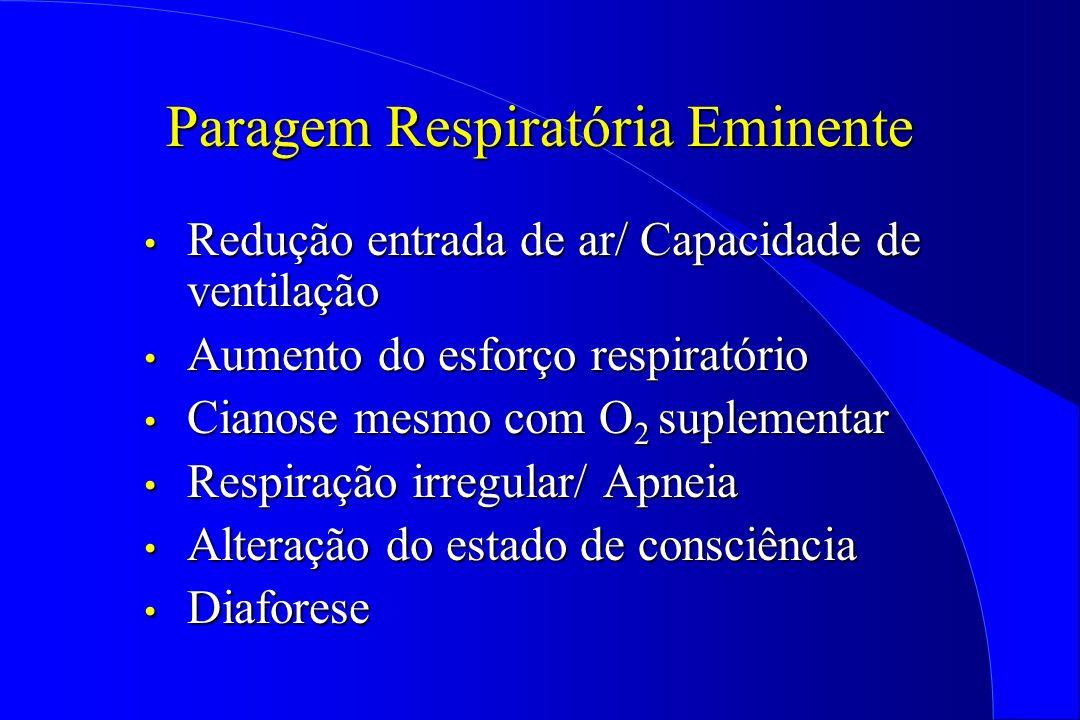 Paragem Respiratória Eminente Redução entrada de ar/ Capacidade de ventilação Redução entrada de ar/ Capacidade de ventilação Aumento do esforço respi