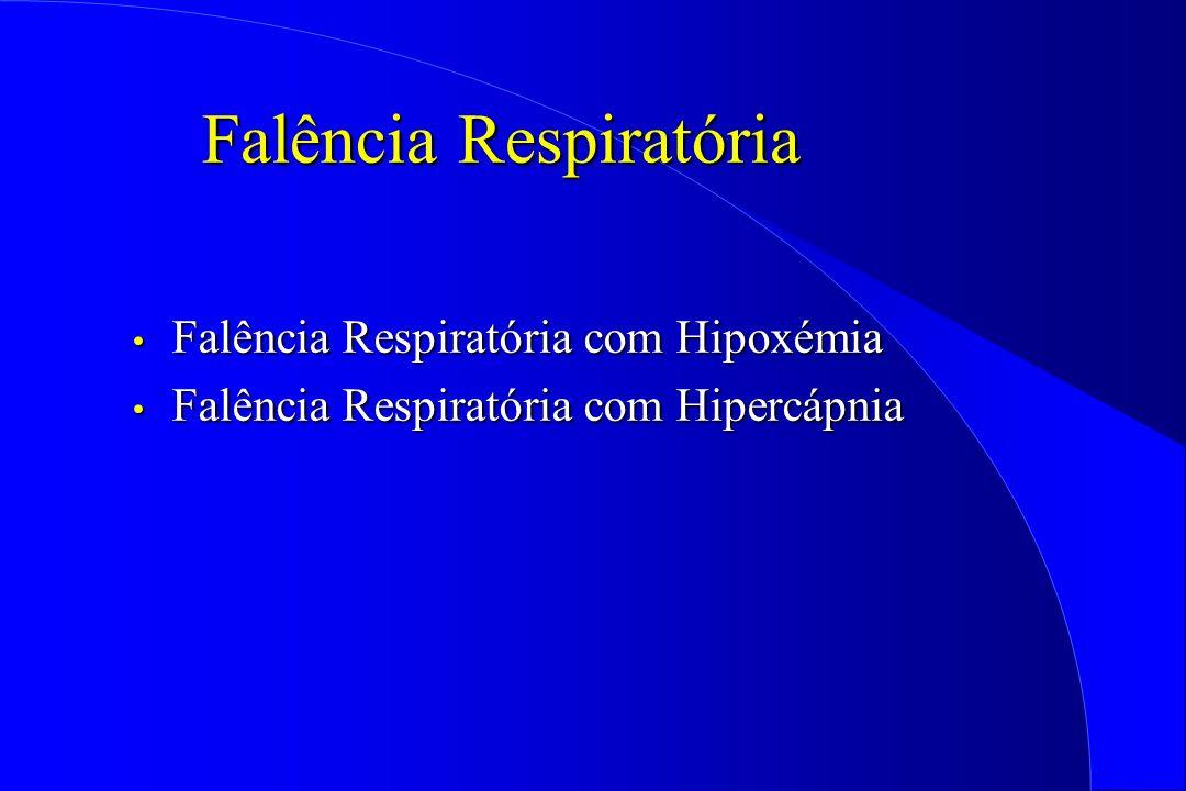 Falência Respiratória Falência Respiratória com Hipoxémia Falência Respiratória com Hipoxémia Falência Respiratória com Hipercápnia Falência Respirató