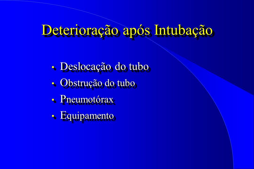 Deterioração após Intubação Deslocação do tubo Deslocação do tubo O bstrução do tubo O bstrução do tubo P neumotórax P neumotórax E quipamento E quipa
