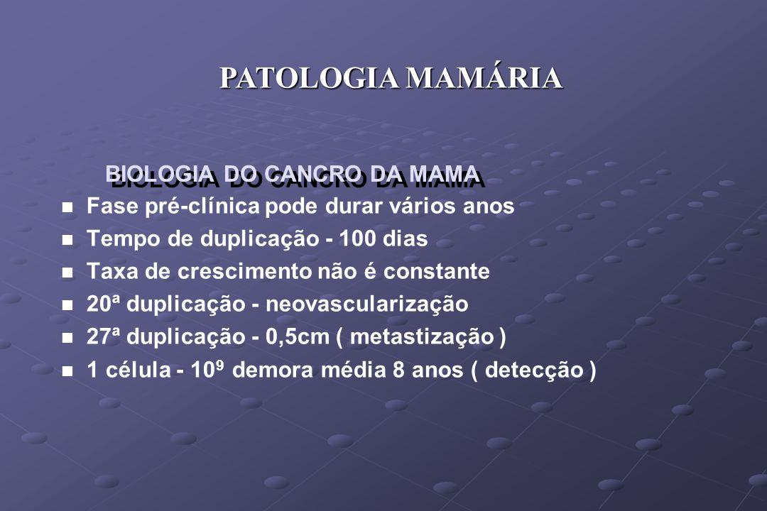 BIOLOGIA DO CANCRO DA MAMA n n Fase pré-clínica pode durar vários anos n n Tempo de duplicação - 100 dias n n Taxa de crescimento não é constante n n