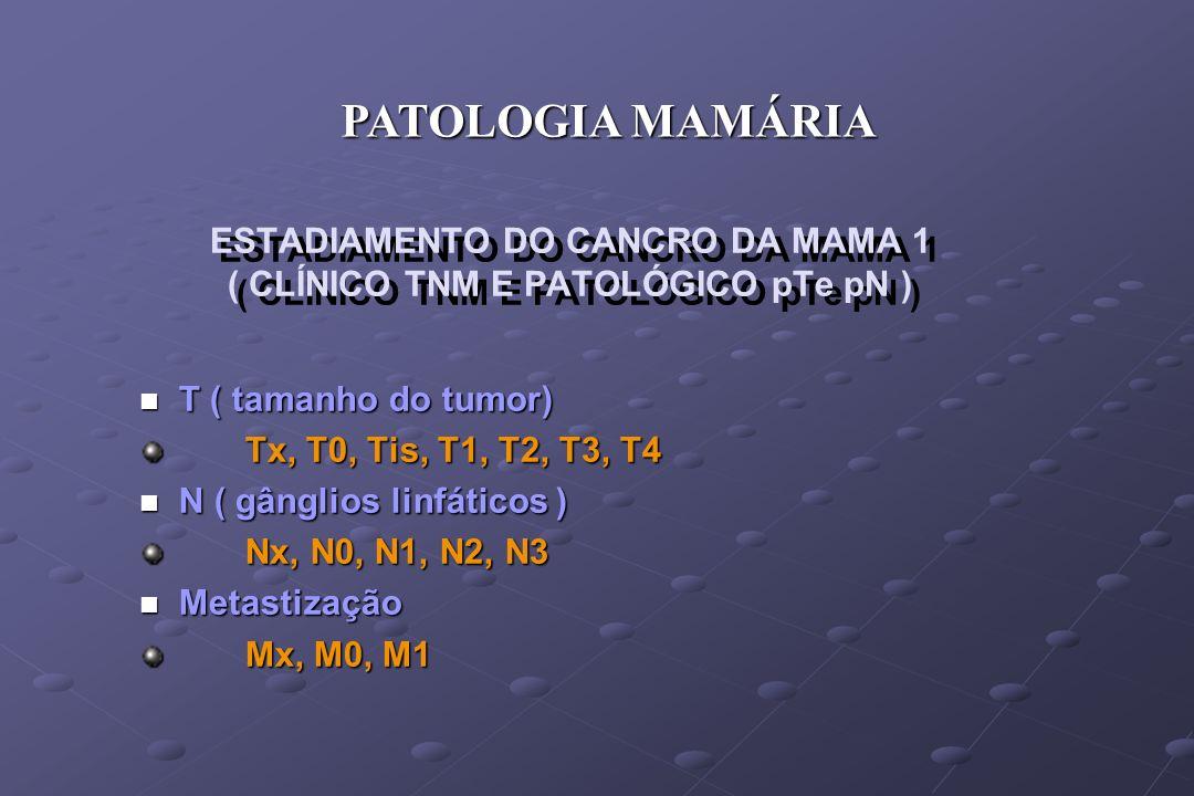 ESTADIAMENTO DO CANCRO DA MAMA 1 ( CLÍNICO TNM E PATOLÓGICO pTe pN ) n T ( tamanho do tumor) Tx, T0, Tis, T1, T2, T3, T4 n N ( gânglios linfáticos ) N