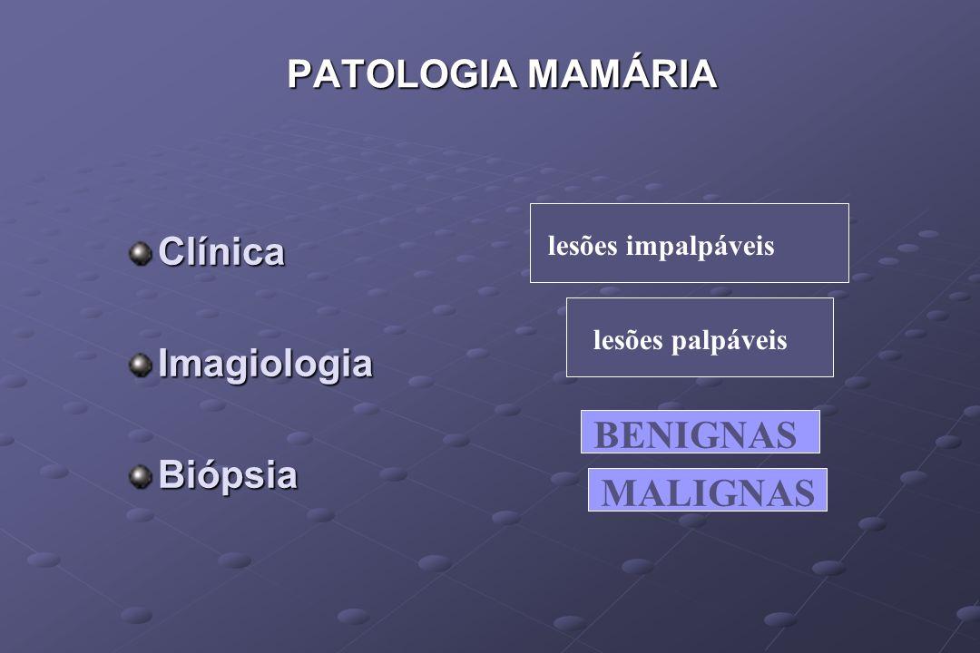 ClínicaImagiologiaBiópsia PATOLOGIA MAMÁRIA lesões impalpáveislesões palpáveis BENIGNAS MALIGNAS