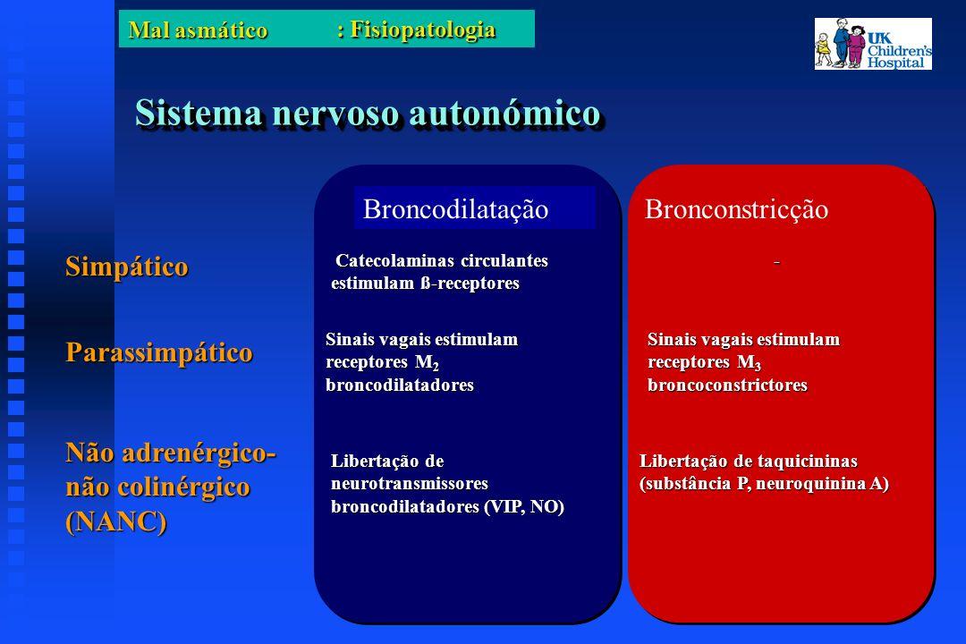 Mal asmático Sistema nervoso autonómico BroncodilataçãoBronconstricção Simpático Catecolaminas circulantes estimulam ß-receptores Catecolaminas circulantes estimulam ß-receptores- Parassimpático Sinais vagais estimulam receptores M 2 broncodilatadores Sinais vagais estimulam receptores M 3 broncoconstrictores Não adrenérgico- não colinérgico (NANC) Libertação de neurotransmissores broncodilatadores (VIP, NO) Libertação de taquicininas (substância P, neuroquinina A) : Fisiopatologia