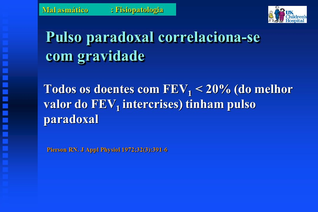 Mal asmático Pulso paradoxal correlaciona-se com gravidade Todos os doentes com FEV 1 < 20% (do melhor valor do FEV 1 intercrises) tinham pulso paradoxal Pierson RN.