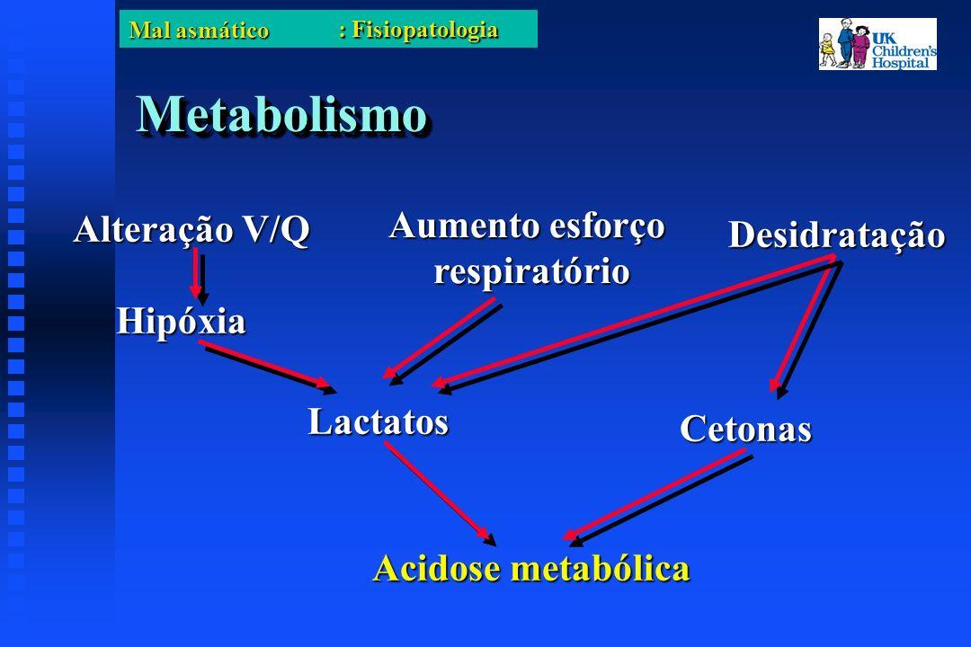 Mal asmático MetabolismoMetabolismo Alteração V/Q Hipóxia Desidratação Lactatos Cetonas Acidose metabólica Aumento esforço respiratório : Fisiopatologia
