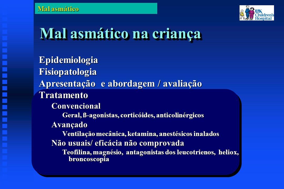 Mal asmático Mal asmático na criança EpidemiologiaFisiopatologia Apresentação e abordagem / avaliação TratamentoConvencional Geral, ß-agonistas, corticóides, anticolinérgicos Avançado Ventilação mecânica, ketamina, anestésicos inalados Não usuais/ eficácia não comprovada Teofilina, magnésio, antagonistas dos leucotrienos, heliox, broncoscopia