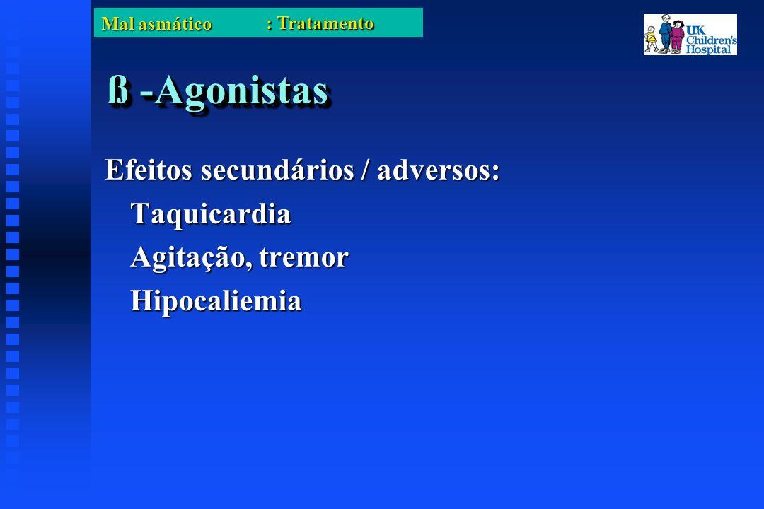Mal asmático ß -Agonistas Efeitos secundários / adversos: Taquicardia Agitação, tremor Hipocaliemia : Tratamento