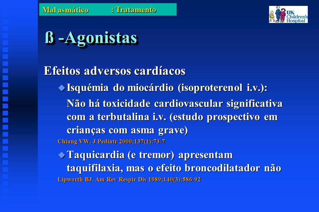 Mal asmático ß -Agonistas Efeitos adversos cardíacos Isquémia do miocárdio (isoproterenol i.v.): Isquémia do miocárdio (isoproterenol i.v.): Não há toxicidade cardiovascular significativa com a terbutalina i.v.