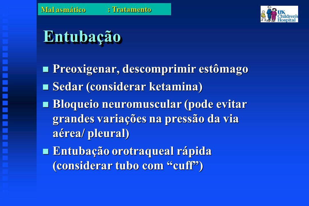 Mal asmático EntubaçãoEntubação Preoxigenar, descomprimir estômago Preoxigenar, descomprimir estômago Sedar (considerar ketamina) Sedar (considerar ketamina) Bloqueio neuromuscular (pode evitar grandes variações na pressão da via aérea/ pleural) Bloqueio neuromuscular (pode evitar grandes variações na pressão da via aérea/ pleural) Entubação orotraqueal rápida (considerar tubo com cuff) Entubação orotraqueal rápida (considerar tubo com cuff) : Tratamento
